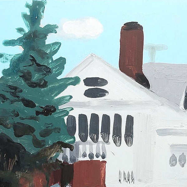 An original acrylic painting of a house by Michelle Selwa, an artist who has exhibited in New York, titled 160 Beaumont Street, October 2007.