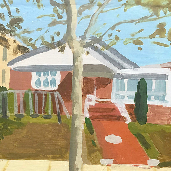 Detail of an original figurative acrylic painting of a house, tree, and house  by Michelle Selwa, an artist who has exhibited in New York, titled 256 Beaumont Street, October 2007