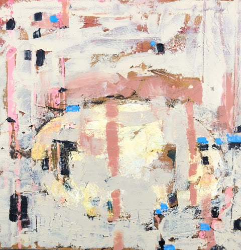 An original abstract oil painting by Shira, an artist who has exhibited at New York, titled Egg