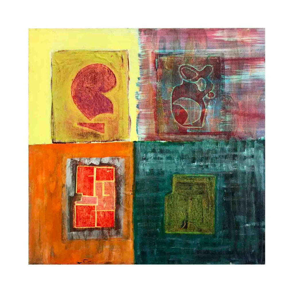 An original oil abstract painting Architectural Quadrants by Cecilia Andre based in New York