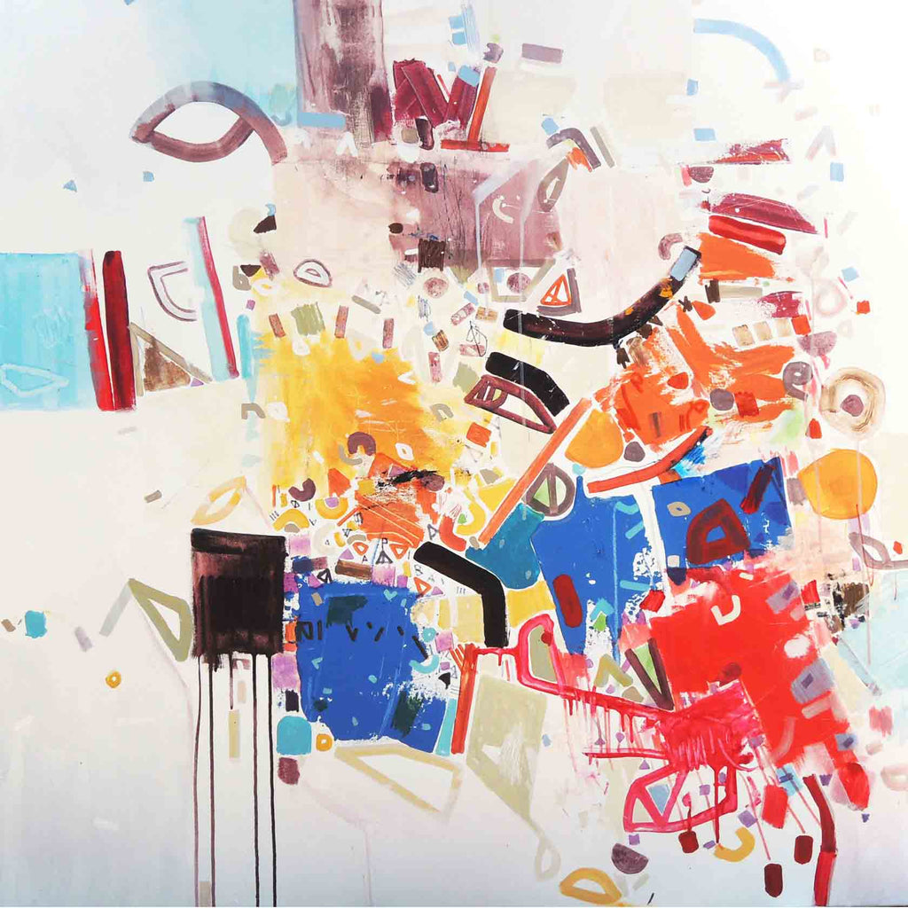 An original abstract large painting by Philippe Halaburda, an artist who has exhibited at New York, titled Boellen Bunths.