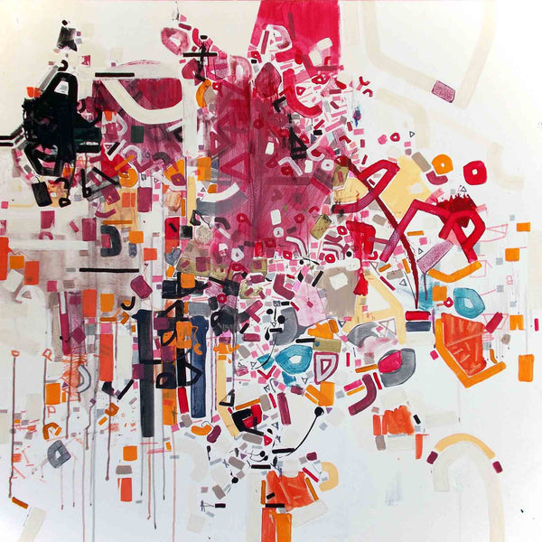 An original abstract large painting by Philippe Halaburda, an artist who has exhibited at New York, titled Red Theo Butter.