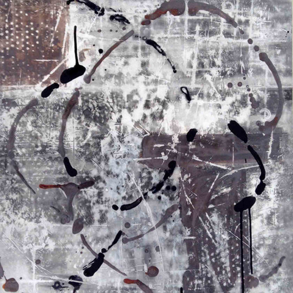 An original grey and black abstract oil painting by, an artist who has exhibited in New York, titled Site