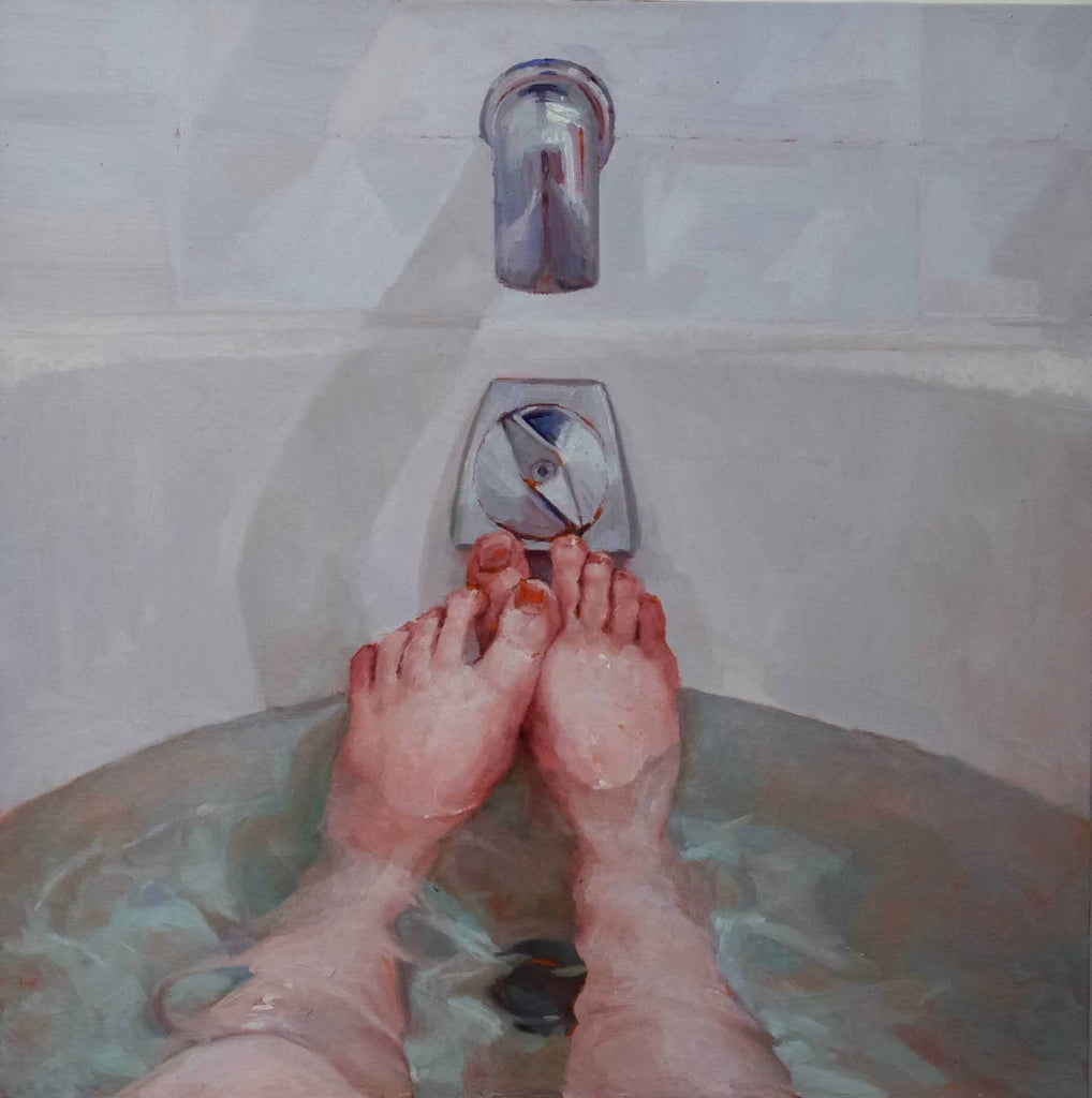 An original figurative oil painting by, artist Amy Hughes who has exhibited in New York, titled Submerge II