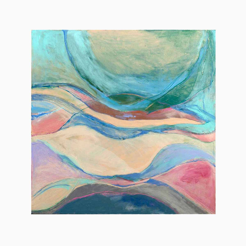 An original Expressionist Abstract Acrylic Landscape painting Tumblewave by Beth Barry based in New York