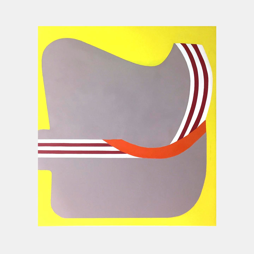 An original abstract artwork by Fran Shalom, a modernist abstract painter with a pop sensibility. Her works balance the formal with the playful, exploring shapes and bright, cartoony colors. Her work gives you a sense of happiness and optimism.
