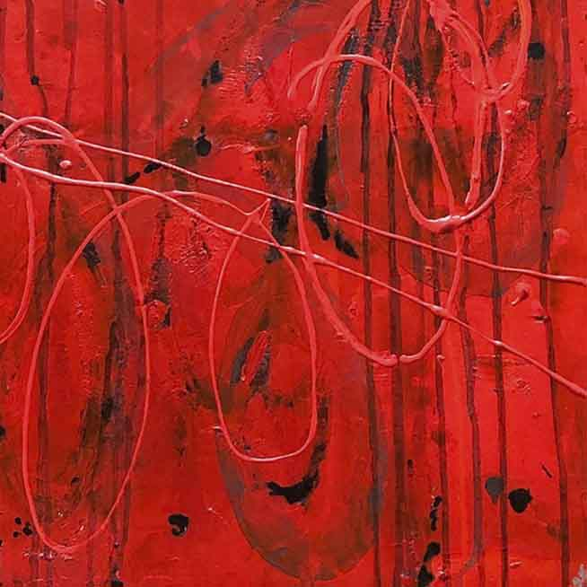 An original abstract oil painting by, an artist who has exhibited in New York, titled Lucky Red