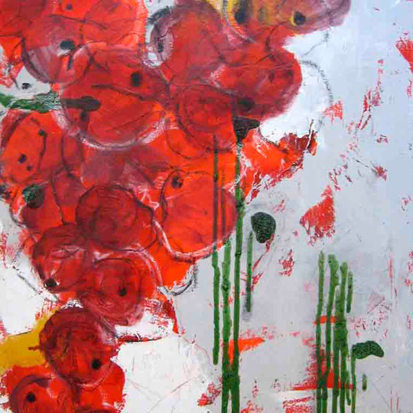 An original red abstract oil painting by, an artist who has exhibited in New York, titled Palma