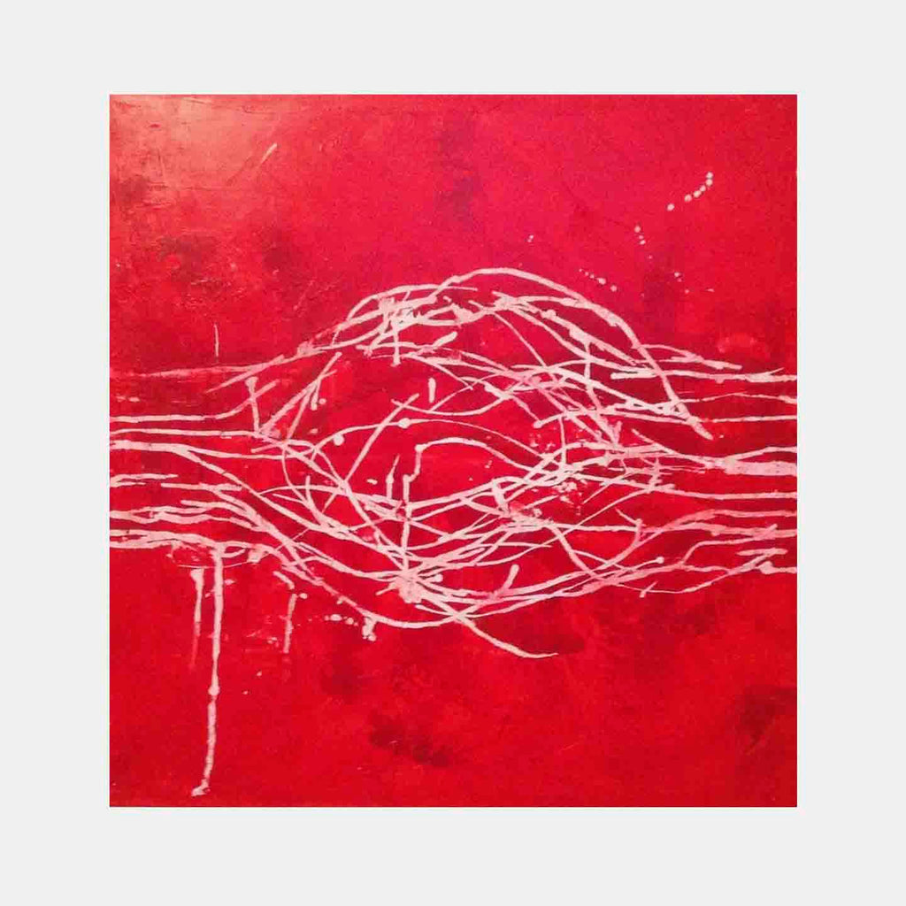 An original red abstract oil painting by, an artist who has exhibited in New York, titled Red Loop