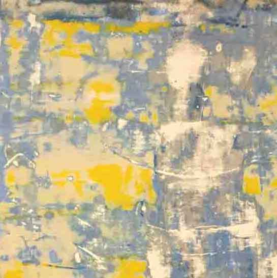 An original abstract oil painting by Shira, an artist who has exhibited at New York, titled Blue Yellow