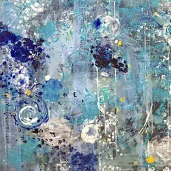 An original abstract oil painting by Shira, an artist who has exhibited at New York, titled Blue Year