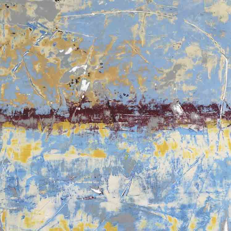 An original abstract oil painting by Shira, an artist who has exhibited at New York, titled Blue Yellow Red