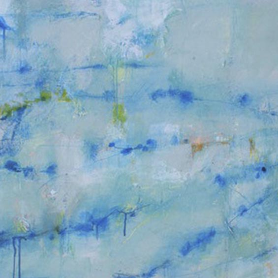 An original abstract oil painting by Shira Toren, an artist who has exhibited at Colorado Academy, titled Hudson Wall
