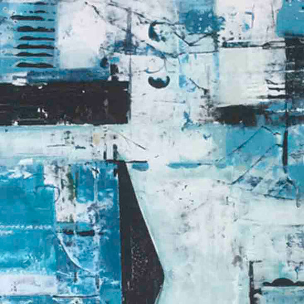 An original blue and teal abstract oil painting by, an artist who has exhibited in New York, titled Teal Apartment