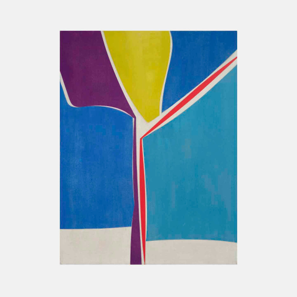 An original colorful abstract geometric painting by Joanne Freeman, an artist who has exhibited in New York titled Liner Notes