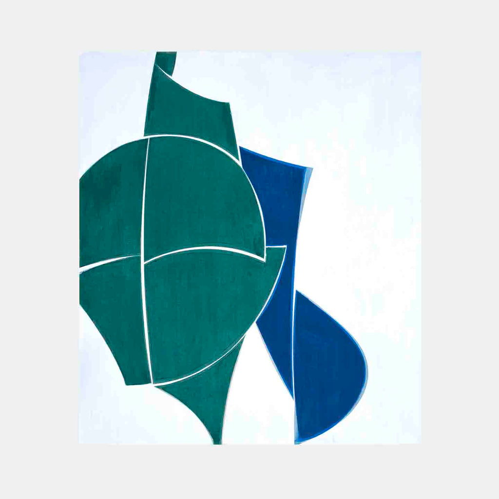 An original blue abstract geometric oil painting by Joanne Freeman, an artist who has exhibited in New York titled OZ