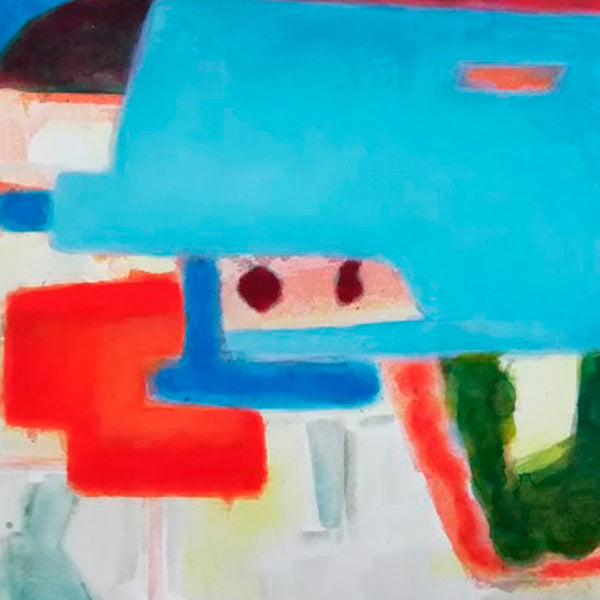 An original abstract composition painting by Rolf Behm, an artist who has exhibited in  New York, titled Amag Baggage 2