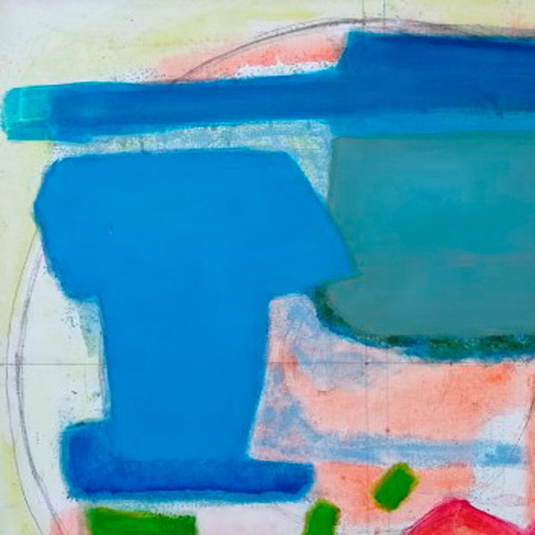 An original abstract composition painting by Rolf Behm, an artist who has exhibited in New York, titled Amag Baggage 4