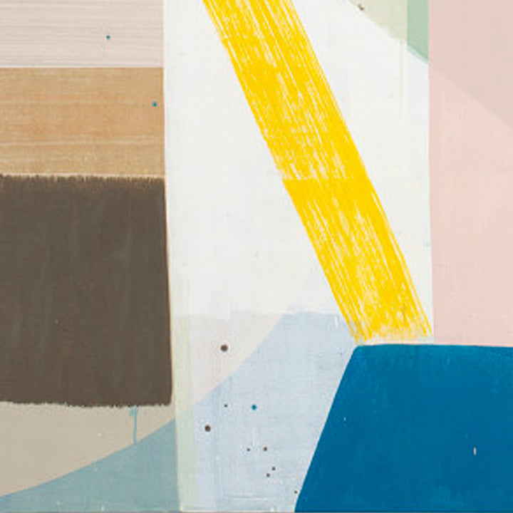 An original abstract geometric oil painting by Ky Anderson, an artist who has exhibited in New York, titled Stage