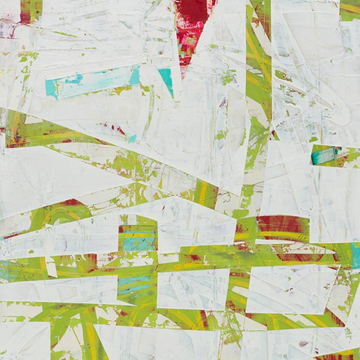 An original abstract oil painting, an artist who has exhibited in New York, titled Vista.