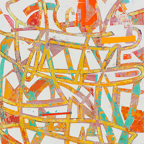 An original abstract oil painting by Mary Didoardo, an artist who has exhibited in New York, titled Candy Land.