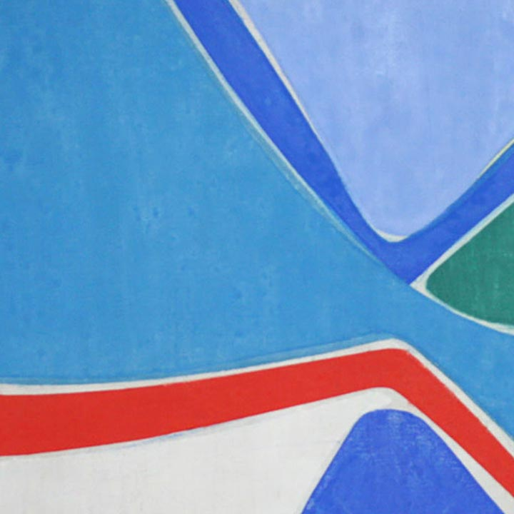 An original geometric abstract blue oil painting by Joanne Freeman, an artist who has exhibited in New York, titled Untitled 4