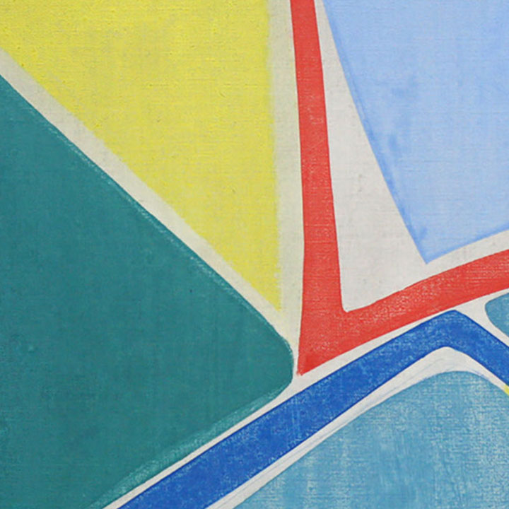 An original geometric abstract blue oil painting by Joanne Freeman, an artist who has exhibited in New York, titled Untitled 2