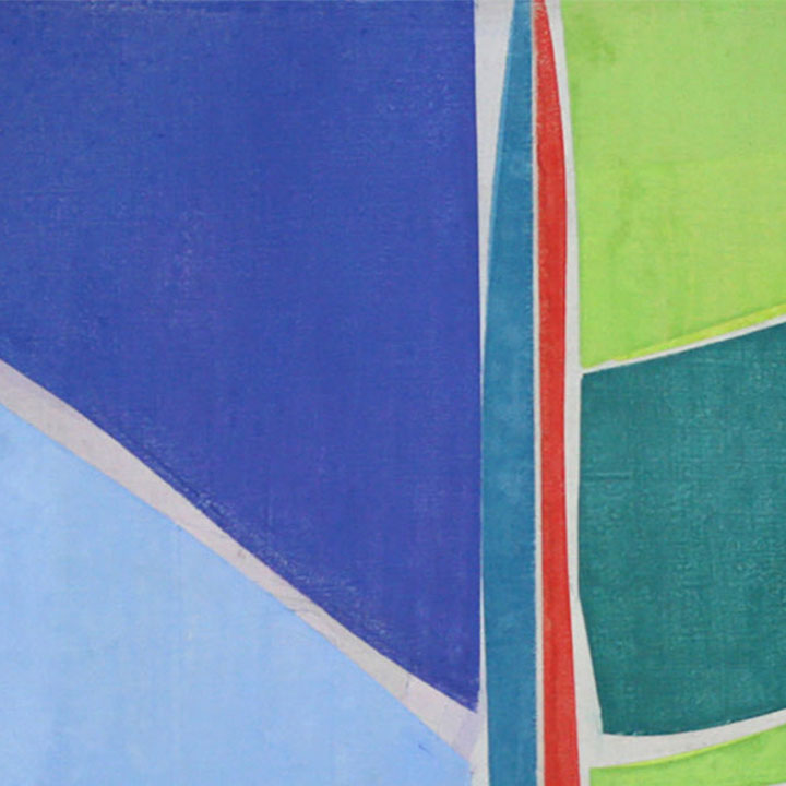 An original geometric abstract blue oil painting by Joanne Freeman, an artist who has exhibited in New York, titled Untitled 1