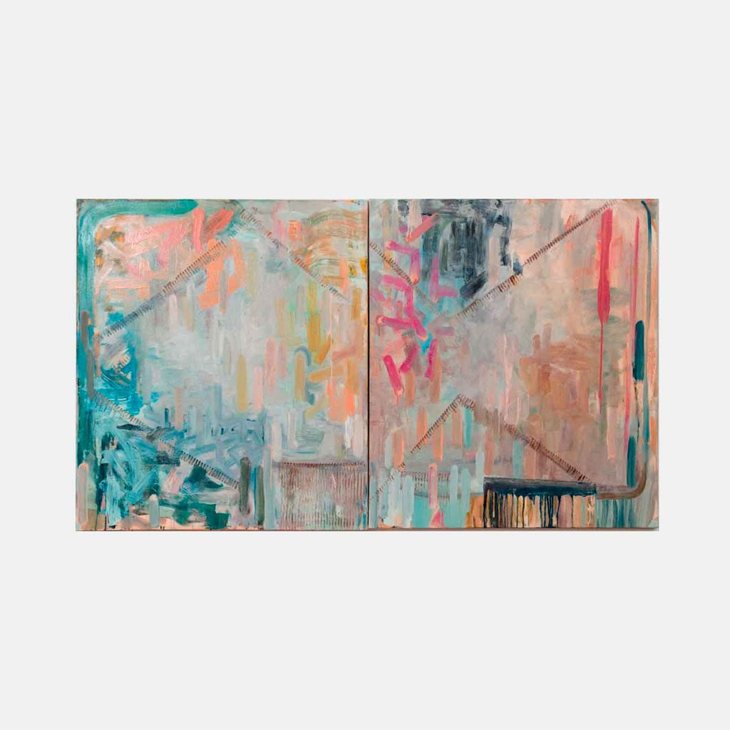 An original Expressionist Abstract oil painting Sylvia's Saga by Molly Herman based in New York