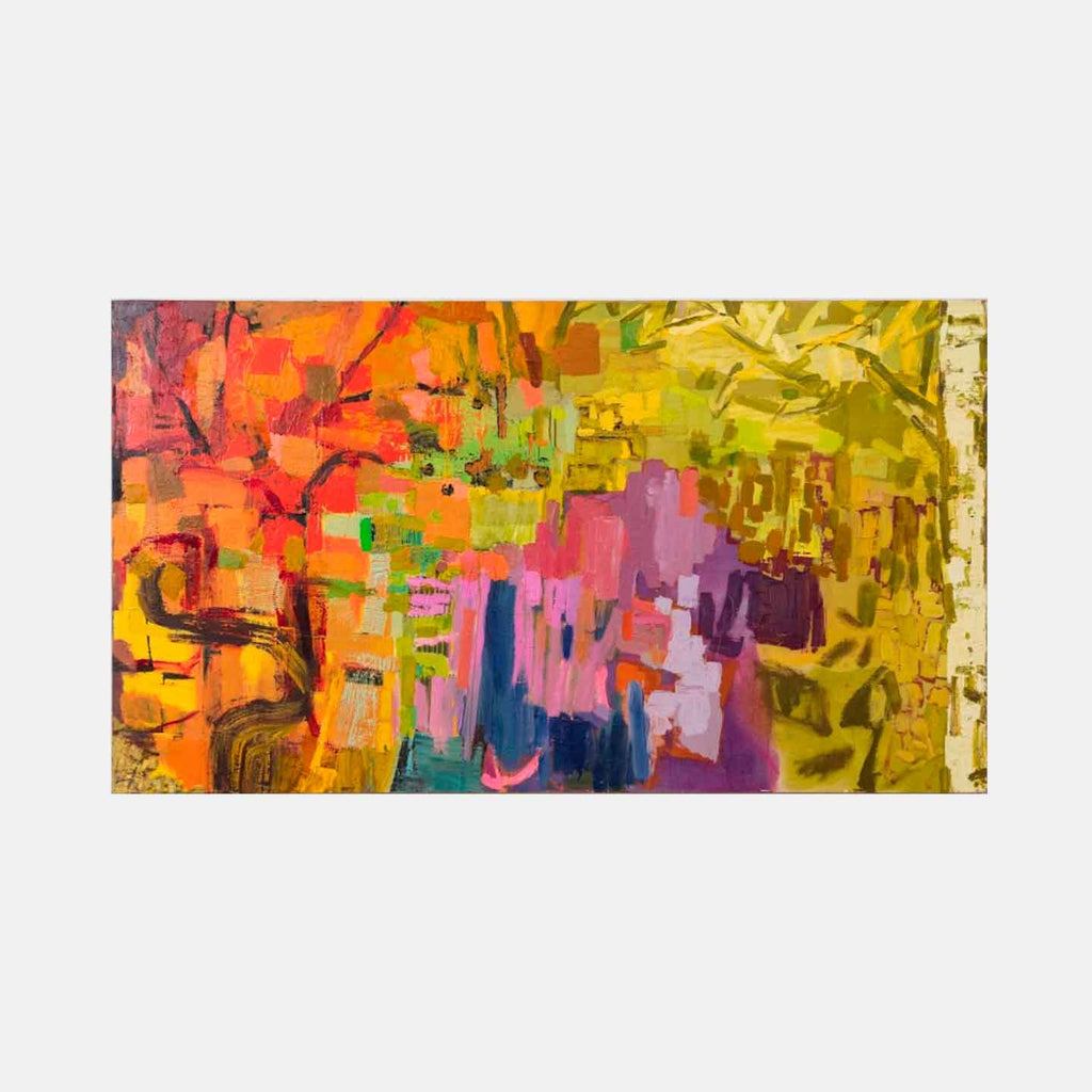 An original Expressionist Abstract oil painting Tapestry by Molly Herman based in New York