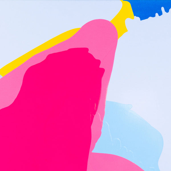 An original pink light blue poured acrylic painting by Carolanna Parlato an artist who has exhibited in New York, titled Morning Glory