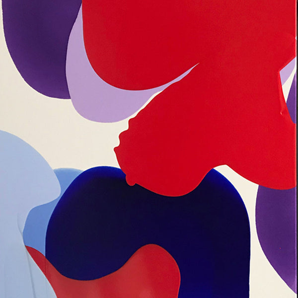 An original purple and red poured acrylic painting by Carolanna Parlato an artist who has exhibited in New York, titled Soar