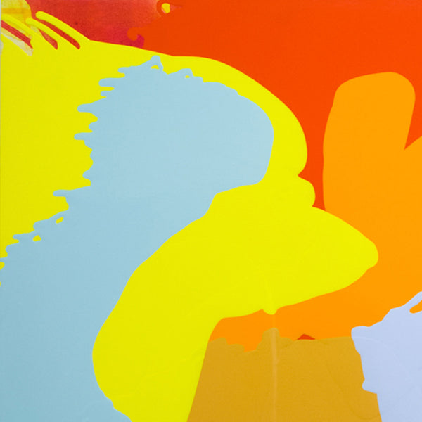 An original orange yellow light blue poured acrylic painting by Carolanna Parlato an artist who has exhibited in New York, titled Breakers