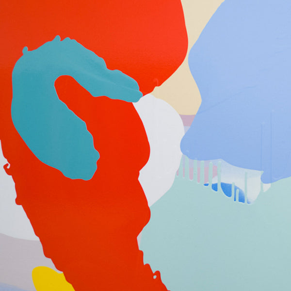 An original red light blue poured acrylic painting by Carolanna Parlato an artist who has exhibited in New York, titled Flight
