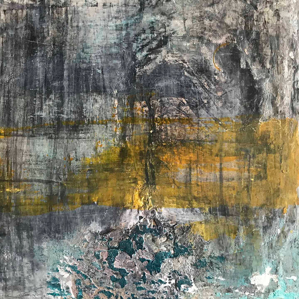 An original abstract mix media painting by Sinejan Kilic Buchina an artist who has exhibited in New York, titled Necessary Ingredients 5-8