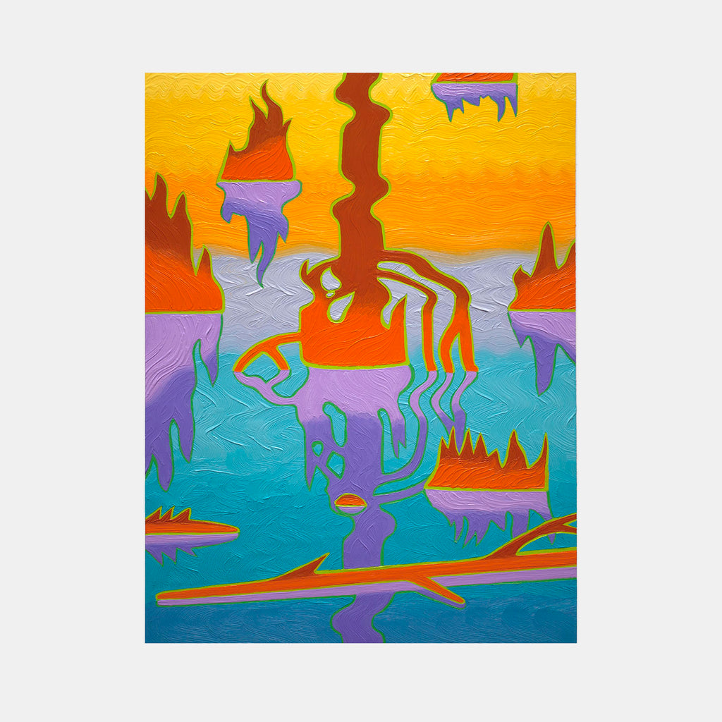 An original abstract artwork (oil on panel) by Caetlynn Booth, a New York based artist and recipient of a Fulbright Fellowship and a D.A.A.D. grant. This painting is part of Into the Swamp series, inspired by the artist's intense experience with and connection to the landscape of the swamp