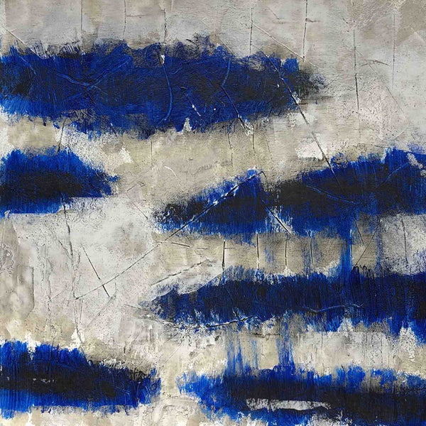 An original abstract oil painting by Shira, an artist who has exhibited at New York, titled Cobalt Sky