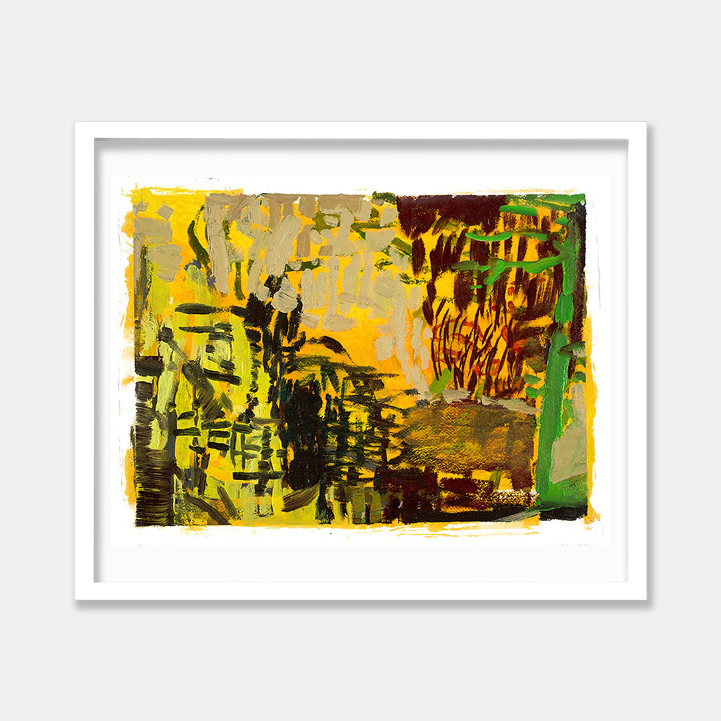 An original Expressionist Oil Painting Park Series: Golden by Molly Herman, based in New York