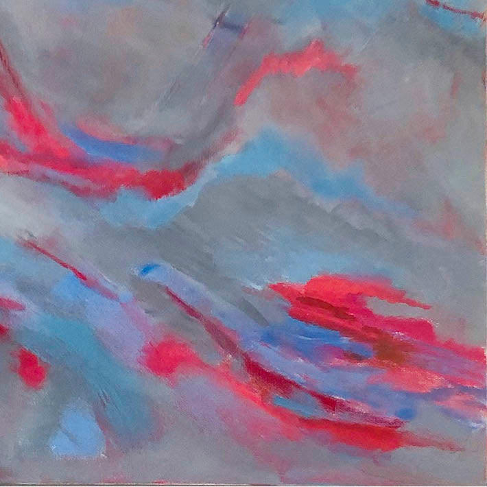 An original Expressionist Abstract Acrylic Landscape painting Getting Through by Beth Barry based in New York