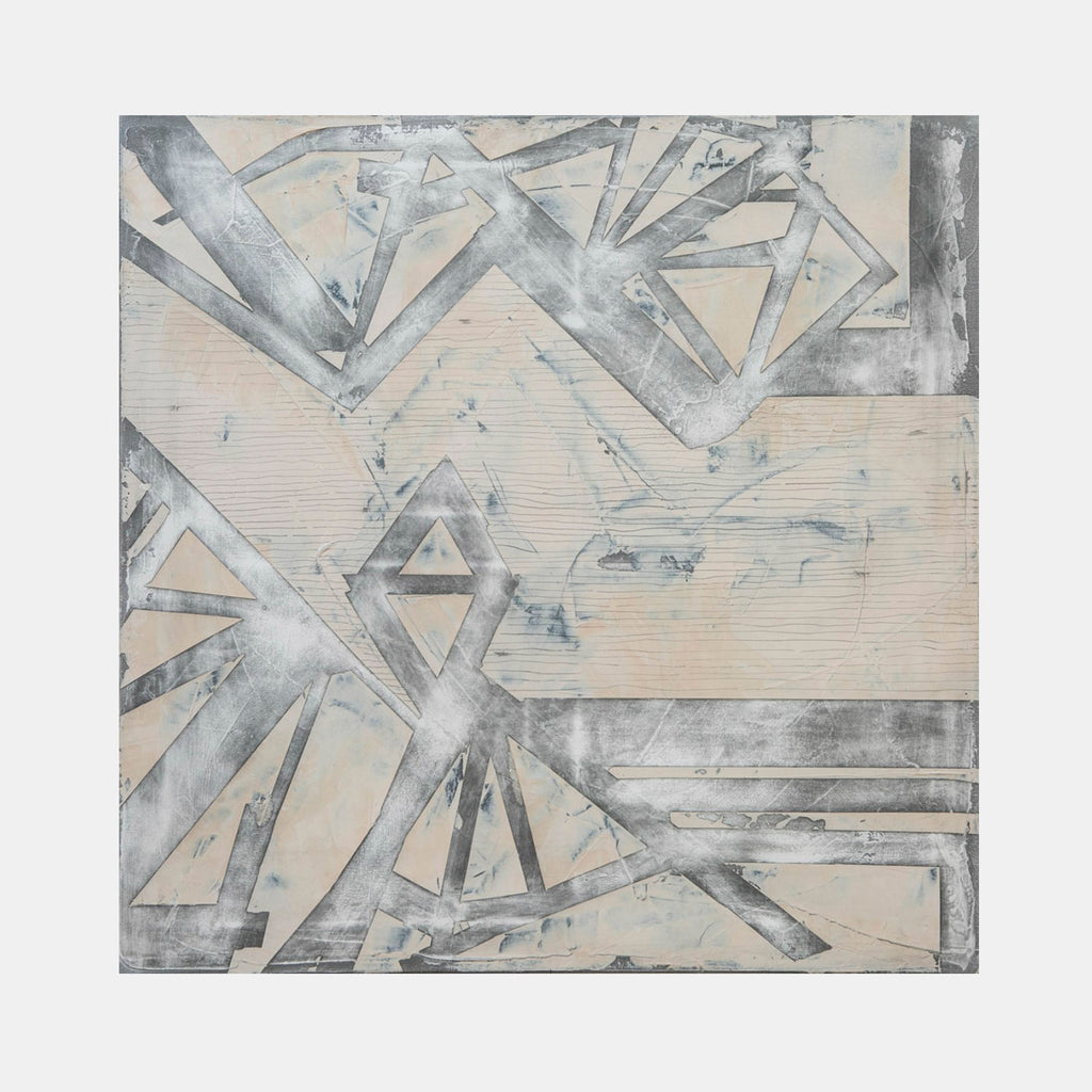 An original white abstract oil painting by, an artist who has exhibited in New York, titled Portal