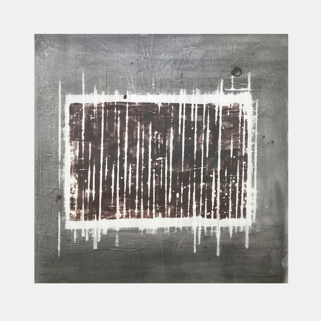 An original grey and black abstract oil painting by, an artist who has exhibited in New York, titled Snowy Window