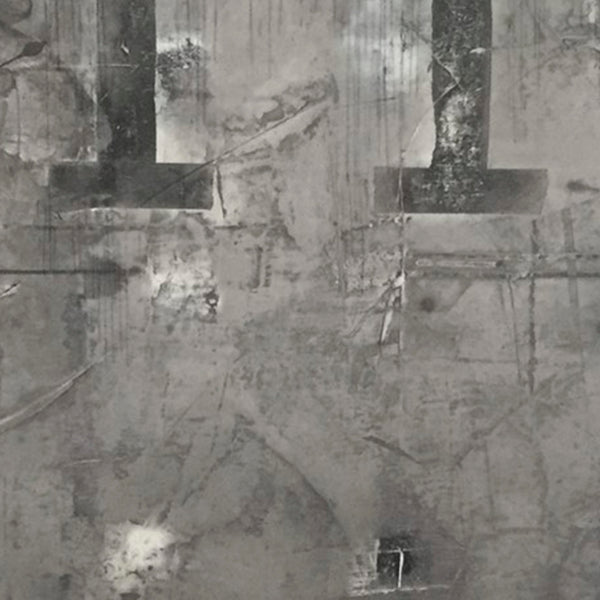 An original black and grey abstract oil painting by, an artist who has exhibited in New York, titled Zone 7