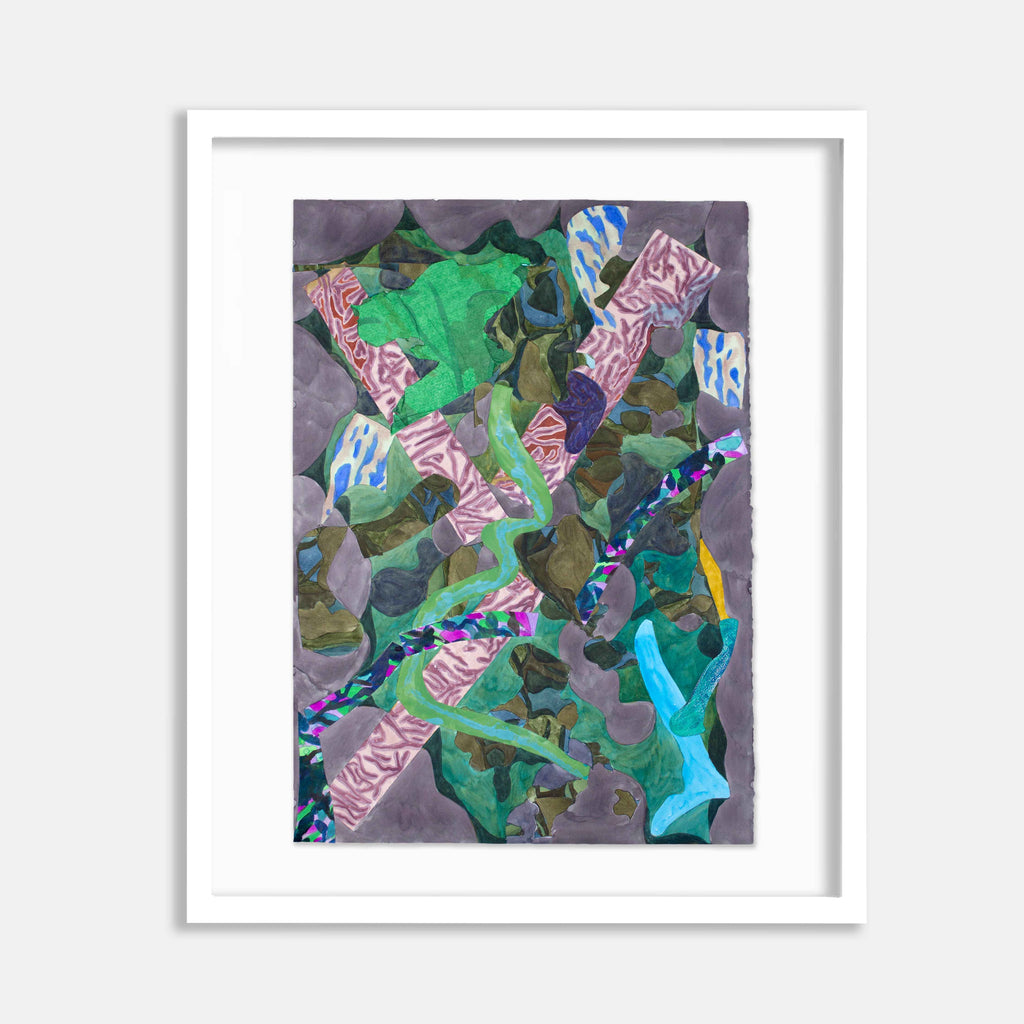 An original abstract watercolor painting by Winnie Sidharta, a Brooklyn-based artist, titled Falling.