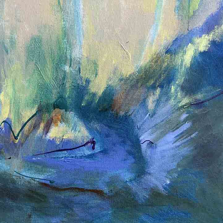 An original Expressionist Abstract Acrylic Landscape painting Northen Light by Beth Barry based in New York
