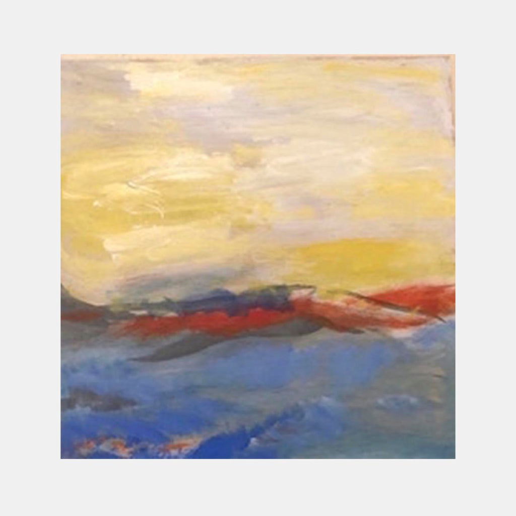 An original Expressionist Abstract Acrylic Landscape painting Orange Horizon by Beth Barry