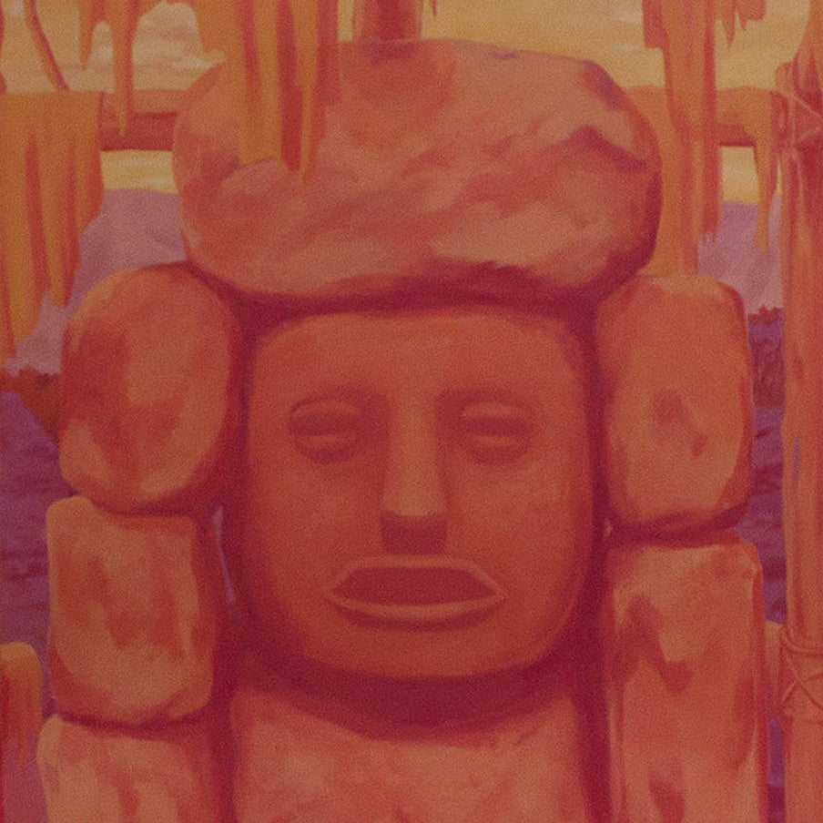 An original figurative painting of Mesoamerican sculpture by Anna Ortiz, an artist who has exhibited inNew York, titled El Baboso