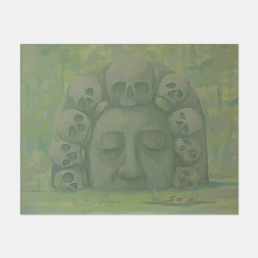 An original figurative painting of Mesoamerican sculpture by Anna Ortiz, an artist who has exhibited in New York, titled La Corona