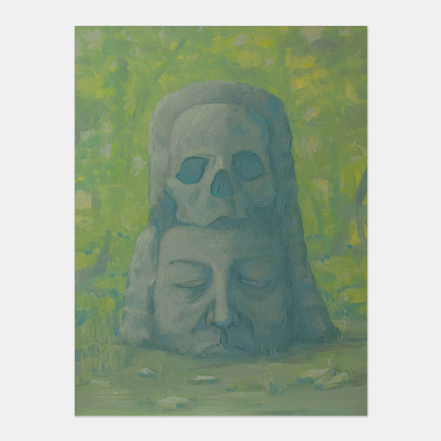 An original figurative painting of Mesoamerican sculpture by Anna Ortiz, an artist who has exhibited in New York, titled Pensando en Tí