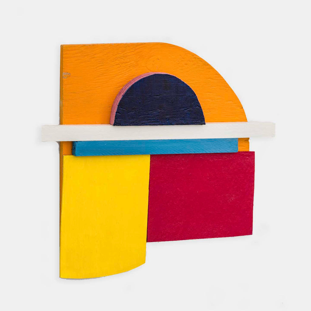 An original bright geometric mixed media sculpture by Fukuko Harris, an artist who has exhibited in New York, titled Assemblage No.4