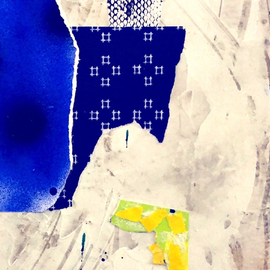 An original bright recycled found object mixed media painting by Fukuko Harris, an artist who has exhibited in New York, titled Untitled (blue)